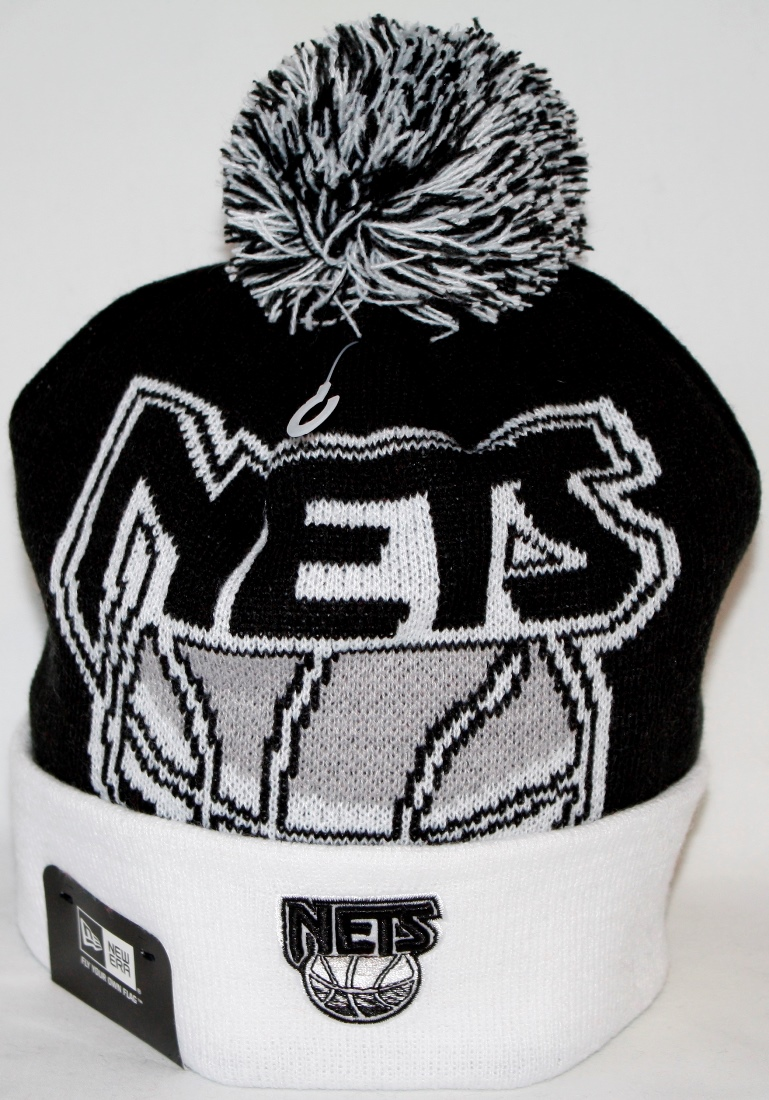 Brooklyn Nets New Era NBA Woven Biggie 2 Cuffed Knit Hat by New Era
