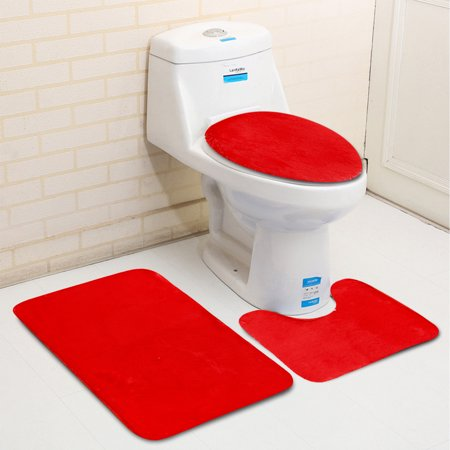 3Pcs /set Non-slip Toilet Lid Cover + Floor Pedestal Rug + Pad Mat Carpet Bathroom Home Decor Gift - image 1 de 6