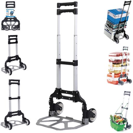 Zimtown Adjustable Luggage Cart, Folding Aluminium Hand Dolly Push Truck Trolley with Wheels