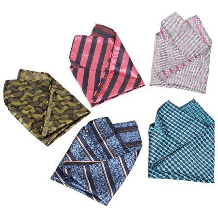 BMC Mens 5 pc Mixed Pattern Large Pocket Square Fashion Handkerchief Accessories