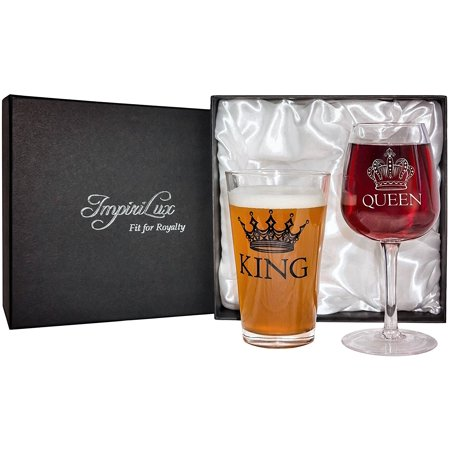 King Beer & Queen Wine Glass Set | Beautiful Affordable Gift for Newlyweds, Engagements, Anniversaries, Weddings, Parents, Christmas - Novelty Drinking Glassware - Novelty Glasses