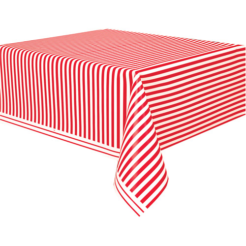 "Plastic Red Striped Table Cover, 108"" x 54"""