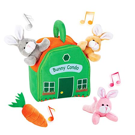 Bundaloo Bunny Condo Set - Plush Rabbit and Carrot Toys in a House Carrying Bag - for Kids Age 6 Months and Up - Soft Stuffed Animals with Sound - Great Easter Basket Gift for Little Boys and Girls Animal Sounds Tot Tower