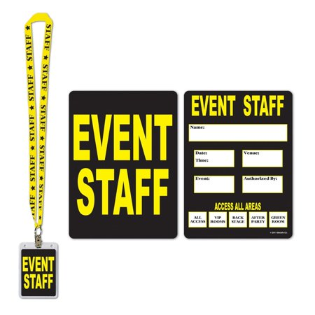Pack of 12 Black and Yellow Event Staff Party Pass Lanyard and Card Holder 25