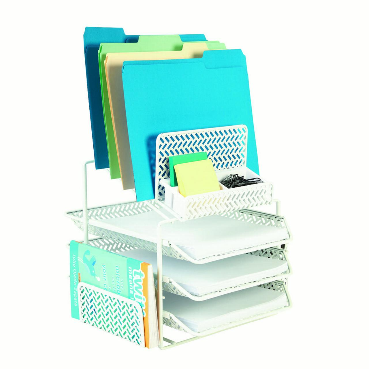 Staples All In One White Zigzag Desk Organizer