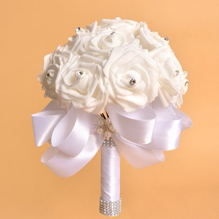 Crystal Roses Pearl Bridesmaid Wedding Bouquet Bridal Artificial Silk Flowers WH Wedding Crystal Pearl