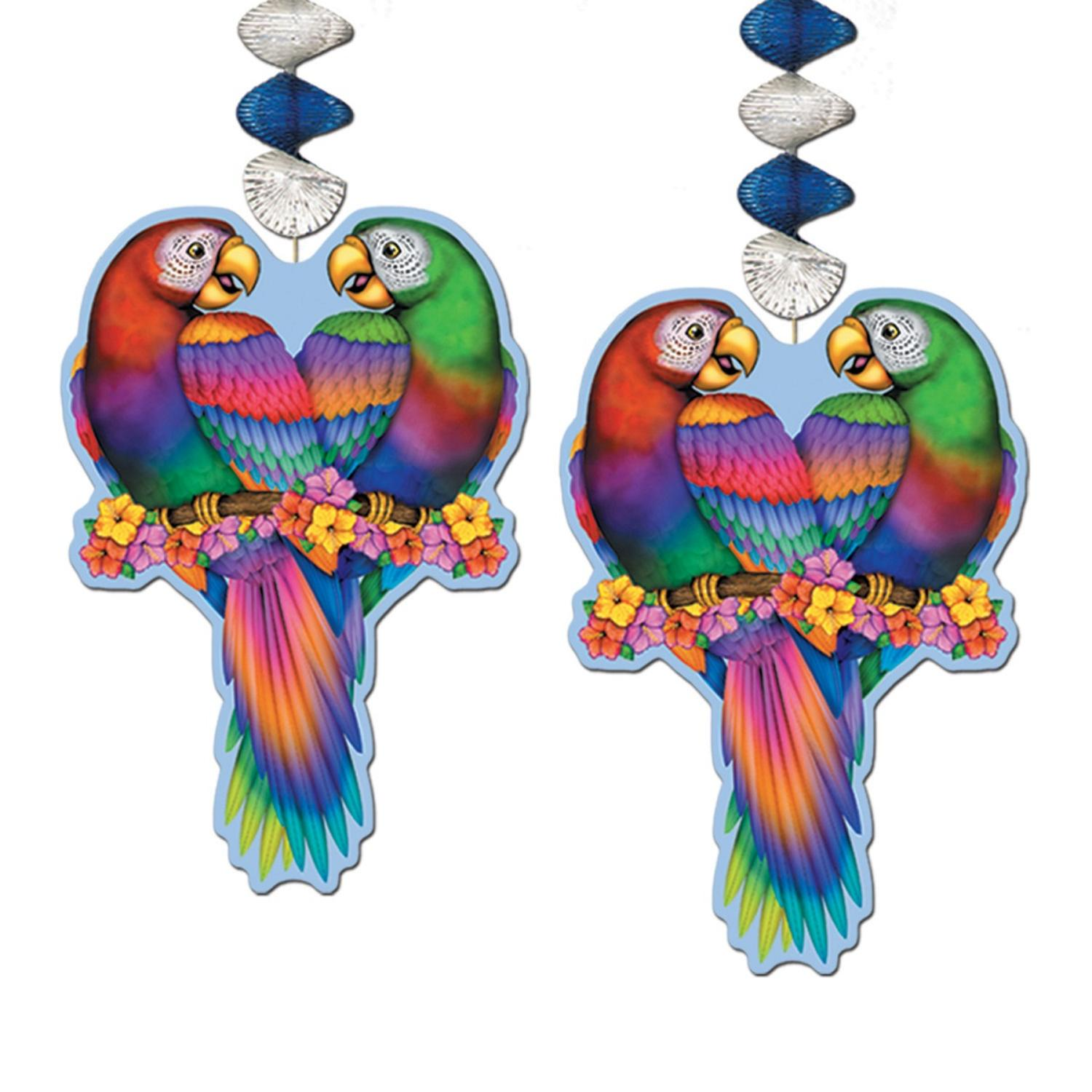 Club Pack of 24 Multi-Colored Luau Themed Tropical Bird Dangler Hanging Decorations 30""