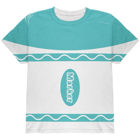 Halloween Marker Costume Aqua Blue All Over Youth T Shirt (Aqua Halloween Mp3)