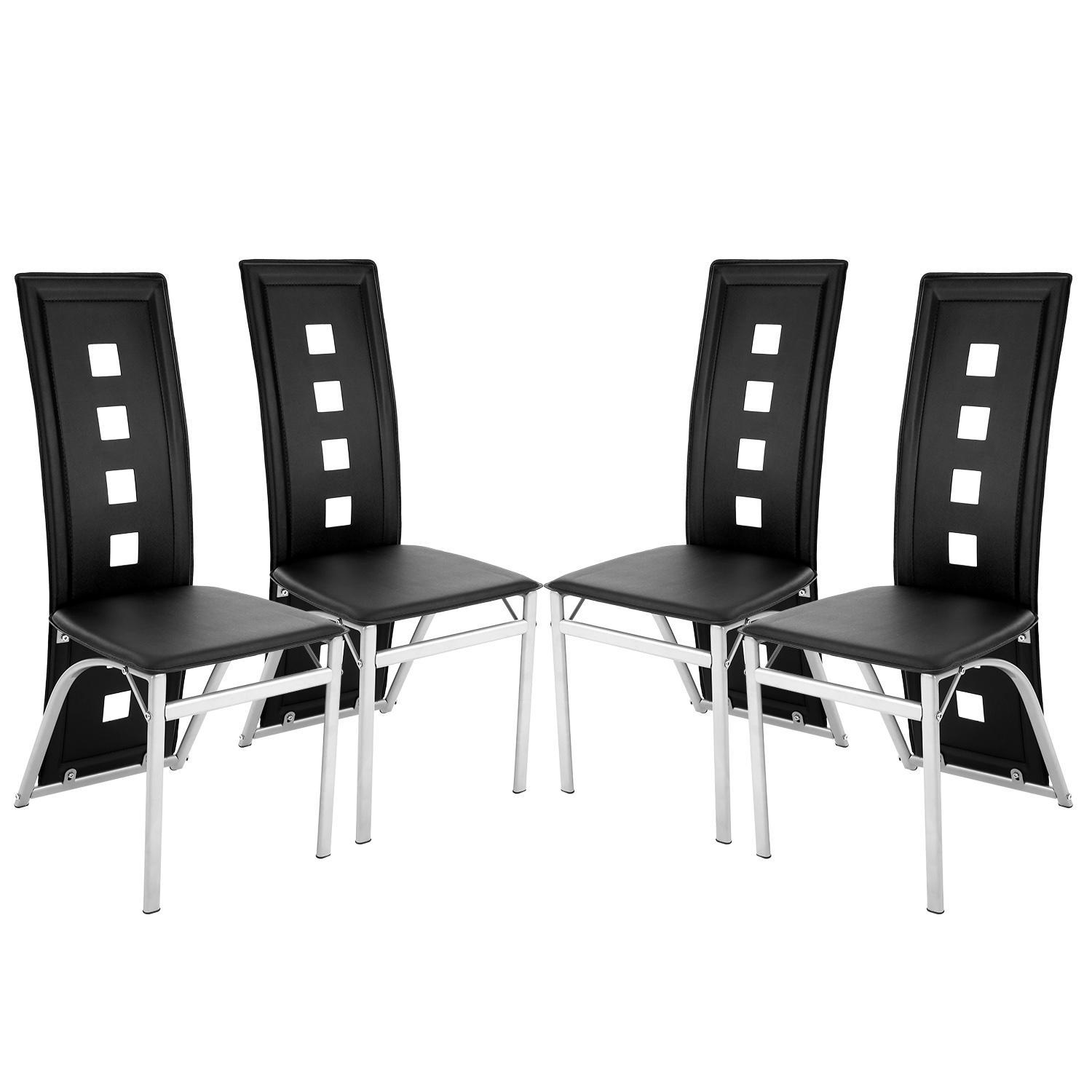 Big promotion ! Set of 4 Modern Dining Chair, High Back Chair for Home Kitchen Restaurant Black BLLK