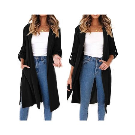 Womens Waterfall Long Trench Coat Ladies 3/4 Sleeve Drape Belted Blazer Outwear Belted Lined Trench Coat