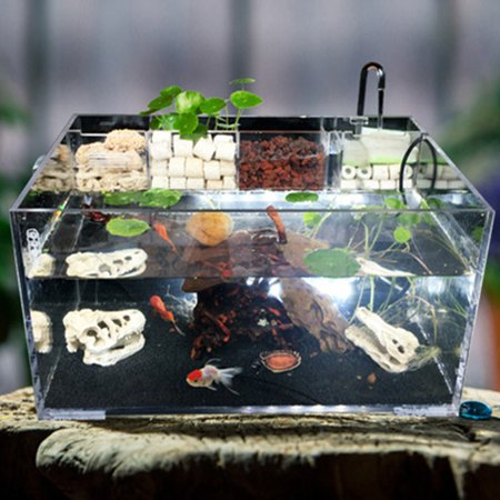 Moaere 5.5 Gallon Acrylic Desktop Aquarium Fish Tank Kit with Water Pump Filter Home Office Decor - image 4 de 13