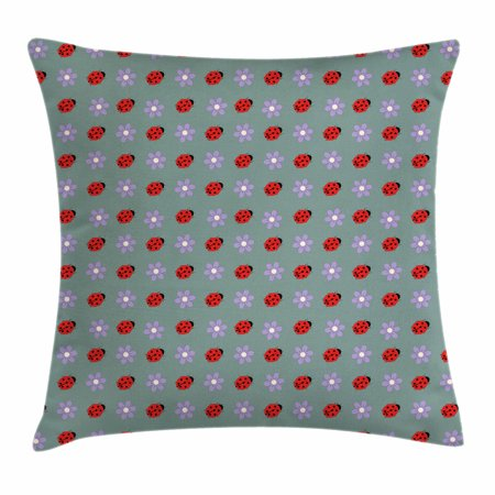Ladybugs Throw Pillow Cushion Cover, Bugs and Flower Pattern Flora and Fauna Design Diagonal Lilacs and Beetle Ornament, Decorative Square Accent Pillow Case, 16 X 16 Inches, Multicolor, by