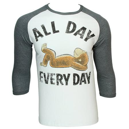 Curious George All Day Every Day Cartoon Character Raglan Shirt (Dash Cartoon Character)