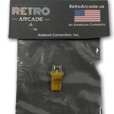 Yellow Pinball 6.3 Volt AC LED Round Replacement Bulbs 44/47 Bayonet Base BA9S, Concave Top