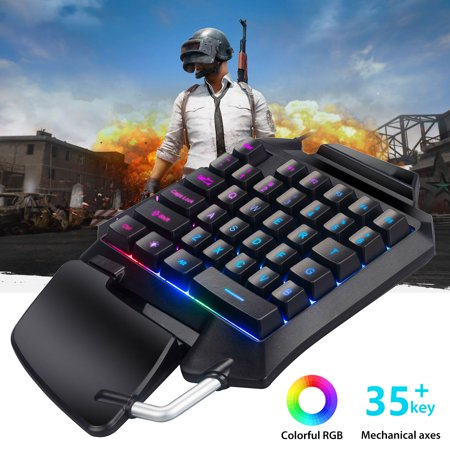 One-Handed RGB Mechanical Gaming Keyboard, 35 Switches Keys , USB Professional Portable Mini Single Handed Gaming Keypad with Advanced Ergonomic Palm-Rest for LOL/PUBG/Wow/Dota/OW/Fps Game Ergonomic Hand Rest