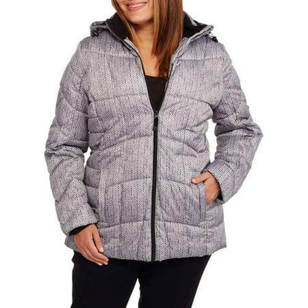 b8e66bc9ea217 Faded Glory - Women s Plus-Size Hooded Puffer Jacket Coat - Walmart.com