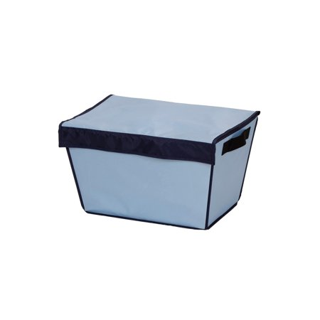 Household Essentials Stop Drop Laundry Basket with Magnetic Lid, Blue