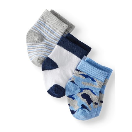 Jefferies Socks Camouflage & Stripe Crew Socks, 3-Pack (Baby Boys)