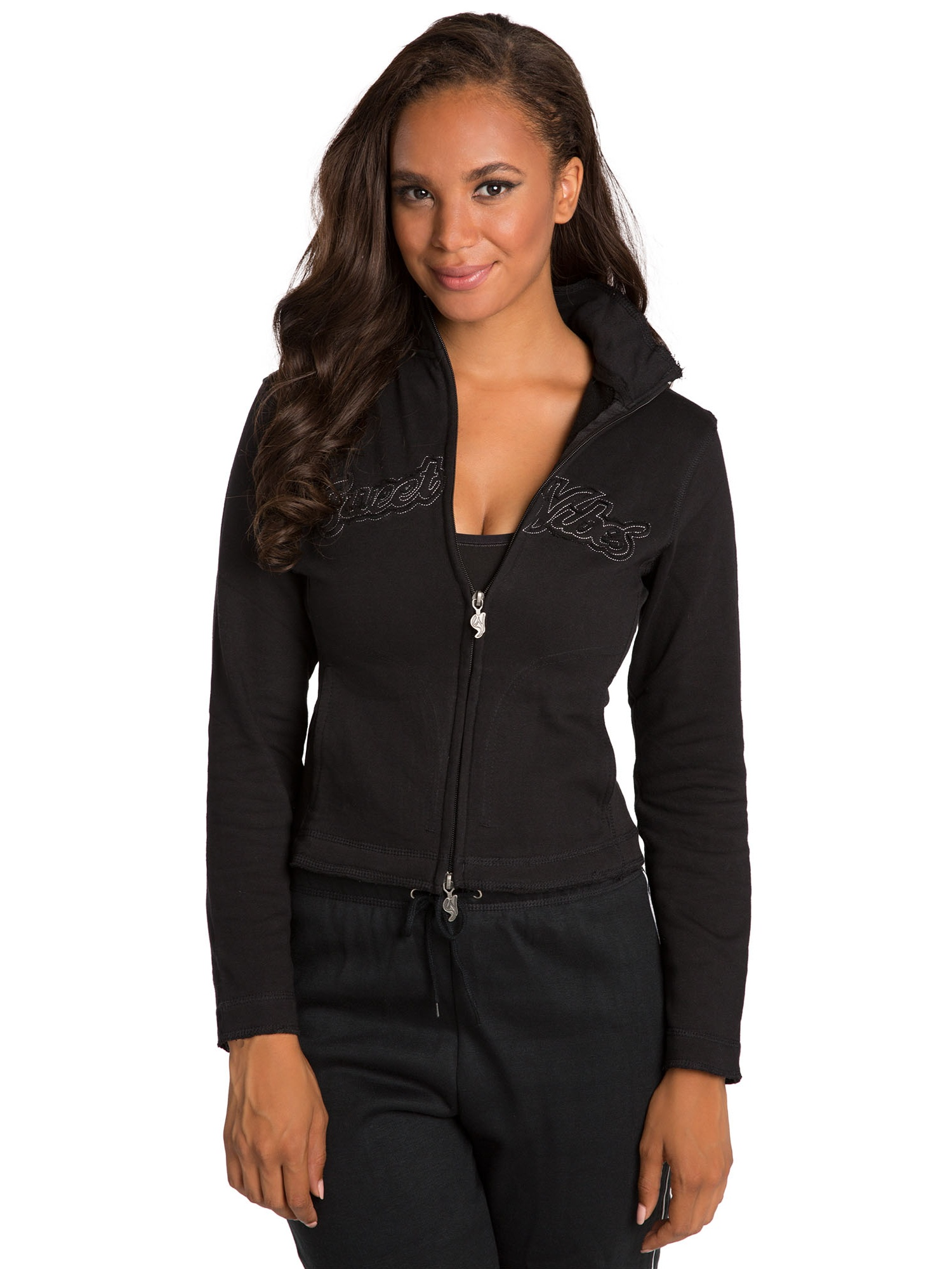 Sweet Vibes Junior Womens Track Jackets French Terry Zip Up Embroidered Raw Edge