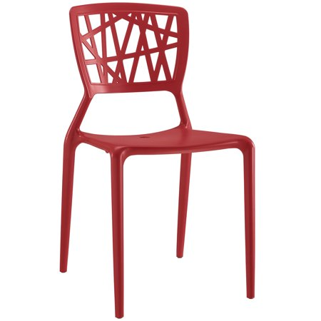 Modern Contemporary Urban Design Outdoor Kitchen Room Dining Side Chair, Red, Plastic ()