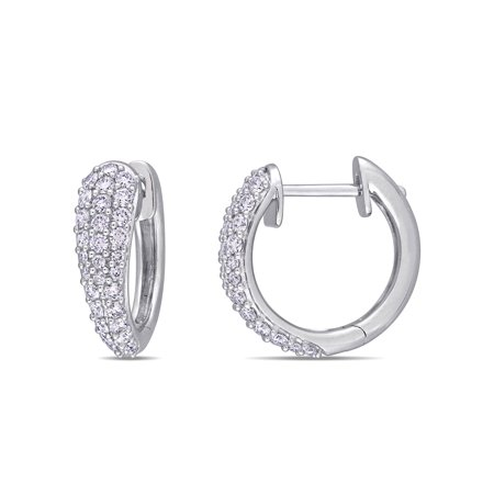 Miabella 1 Carat T.W. Diamond 14kt White Gold Hoop Earrings