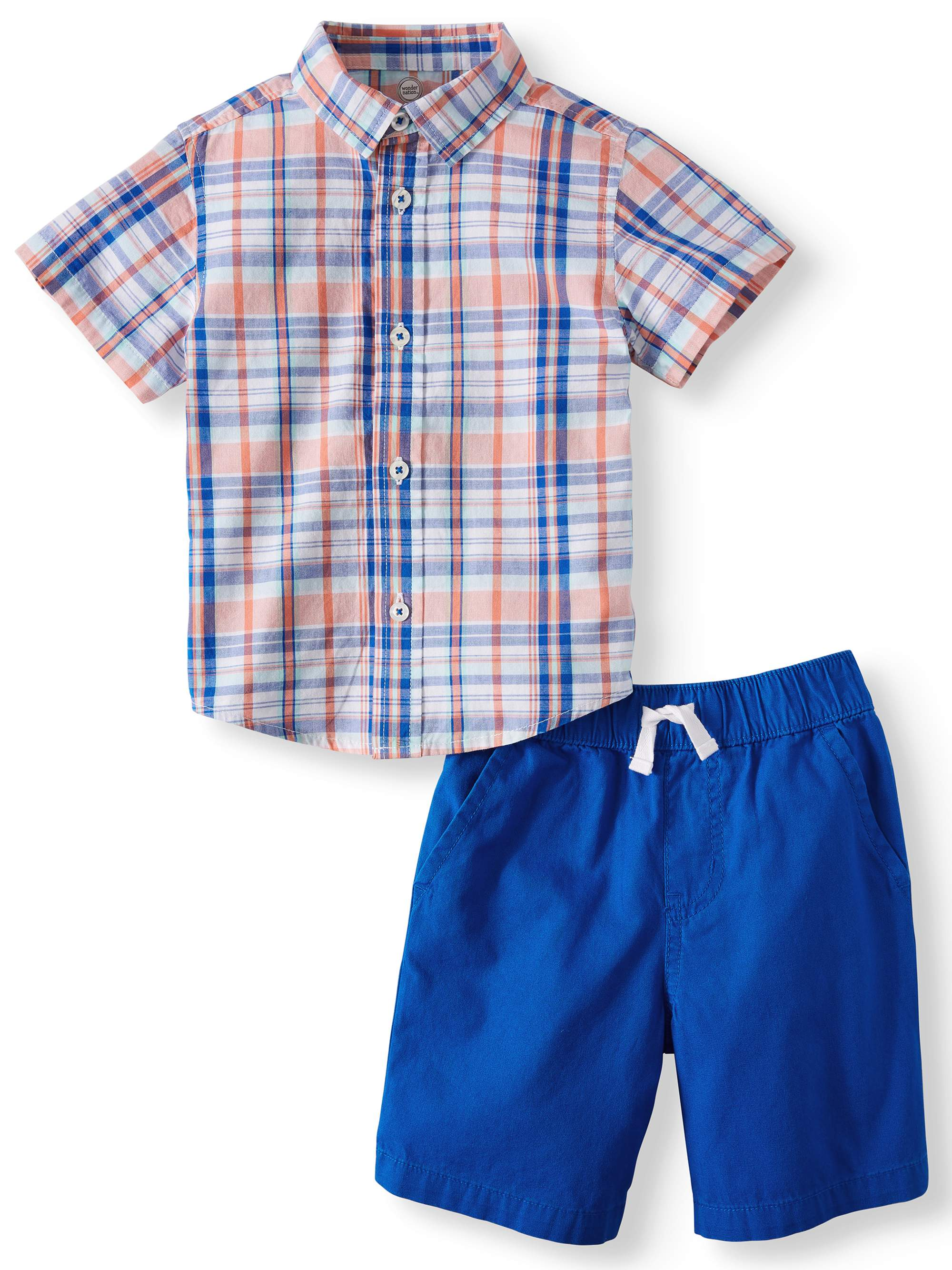 Short Sleeve Button Down & Shorts, 2pc Outfit Set (Toddler Boys)