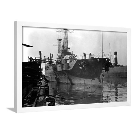 Starboard Bow View of the Uss Pennsylvania (BB-38) Framed Print Wall Art