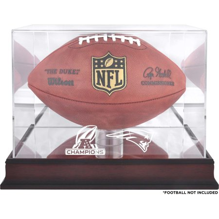 New England Patriots 2017 AFC Champions Mahogany Football Logo Display Case