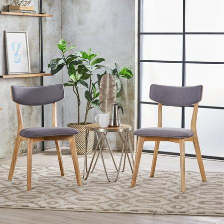 Noble House Sadie Dark Grey Oak Finish Dining Chairs (Set of 2)