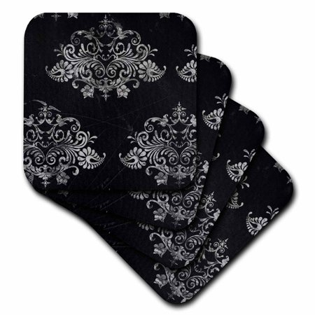3dRose Black Distressed Damask, Soft Coasters, set of 4 by