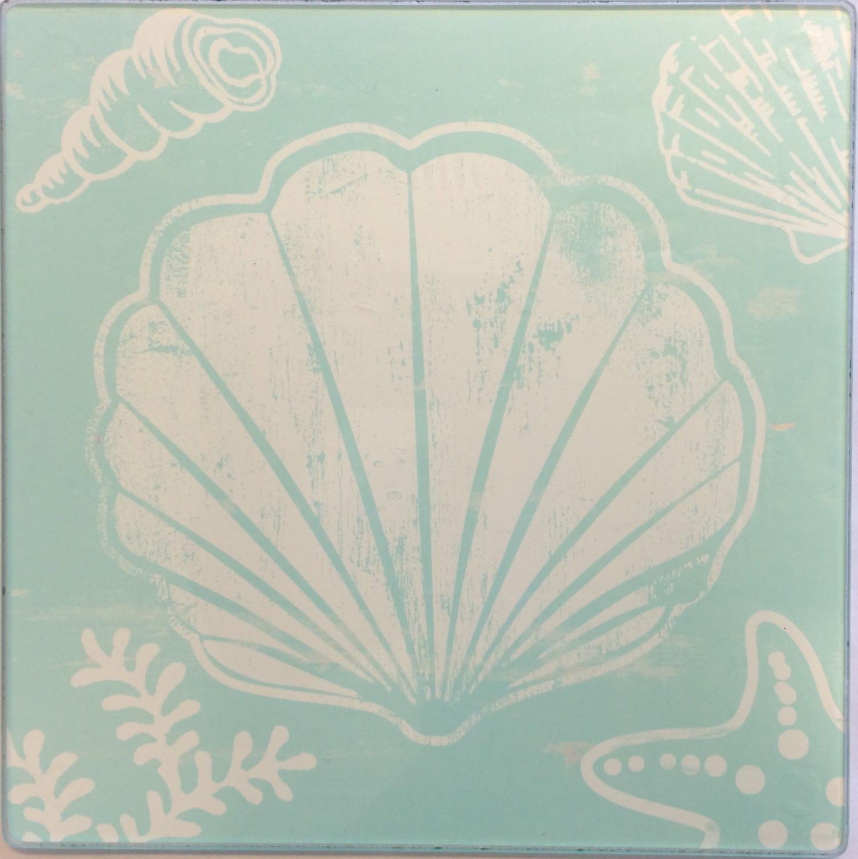White Seashell Starfish And Coral On Teal Hot Plate Glass Trivet Walmart Com Walmart Com