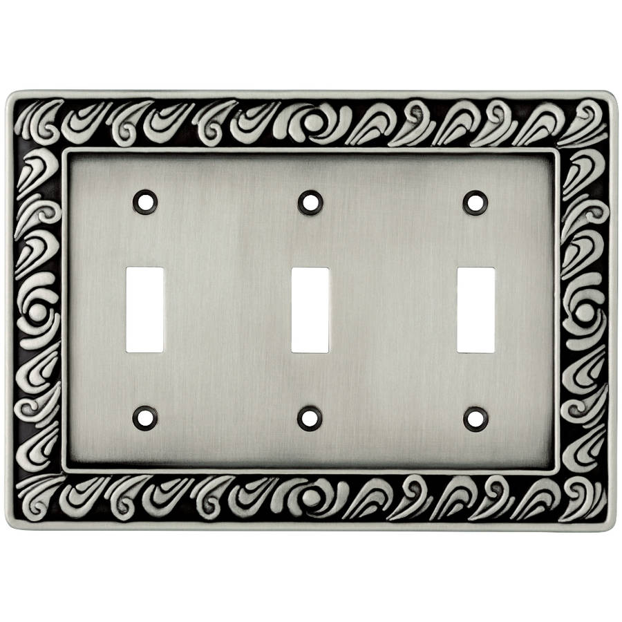 Brainerd Paisley Triple-Switch Wall Plate, Available in Multiple Colors