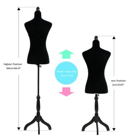 - Zimtown Adjustable Dressmaker Female Mannequin Torso Dress Form Display w/ Tripod Stand Black