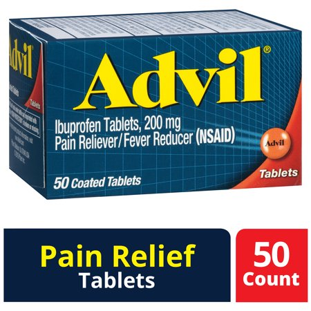Advil (50 Count) Pain Reliever / Fever Reducer Coated Tablet, 200mg Ibuprofen, Temporary Pain