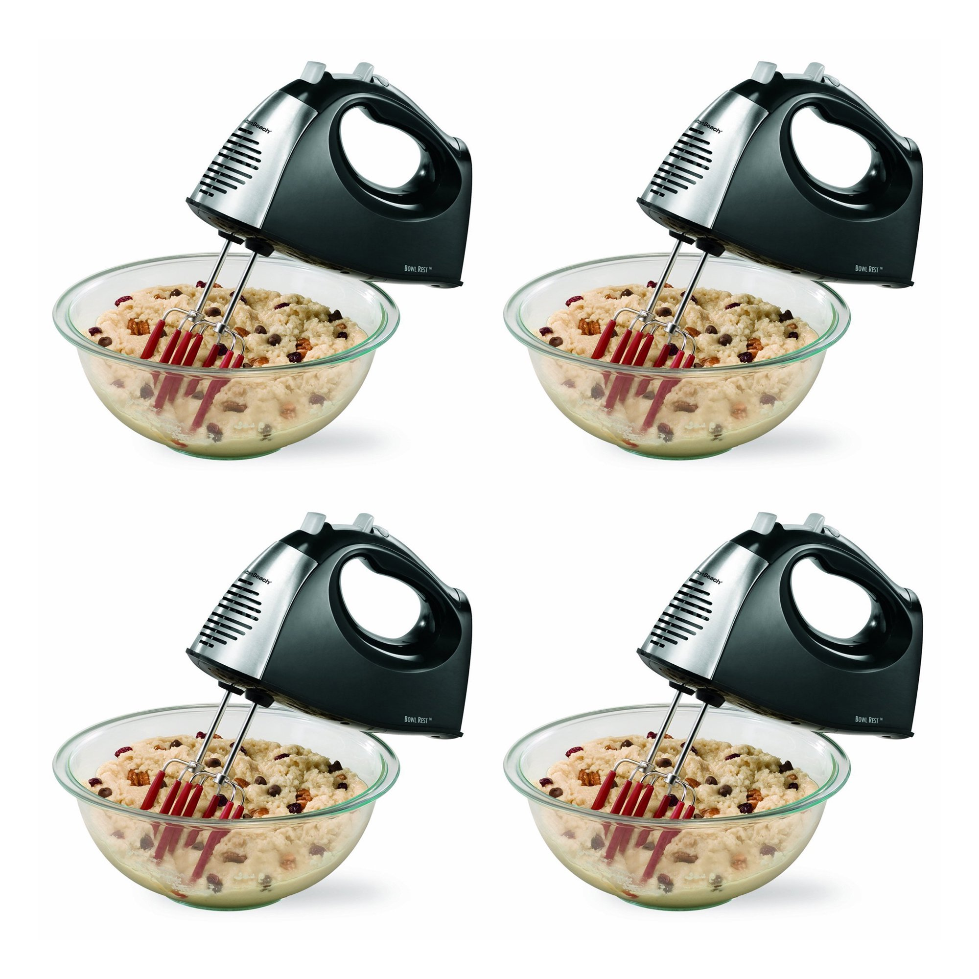 Hamilton Beach SoftScrape 6 Speed Electric Hand Mixer with Storage Case (4 Pack)