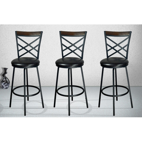 Millwood Pines Taryn Adjustable Height Swivel Bar Stool (Set of 3)