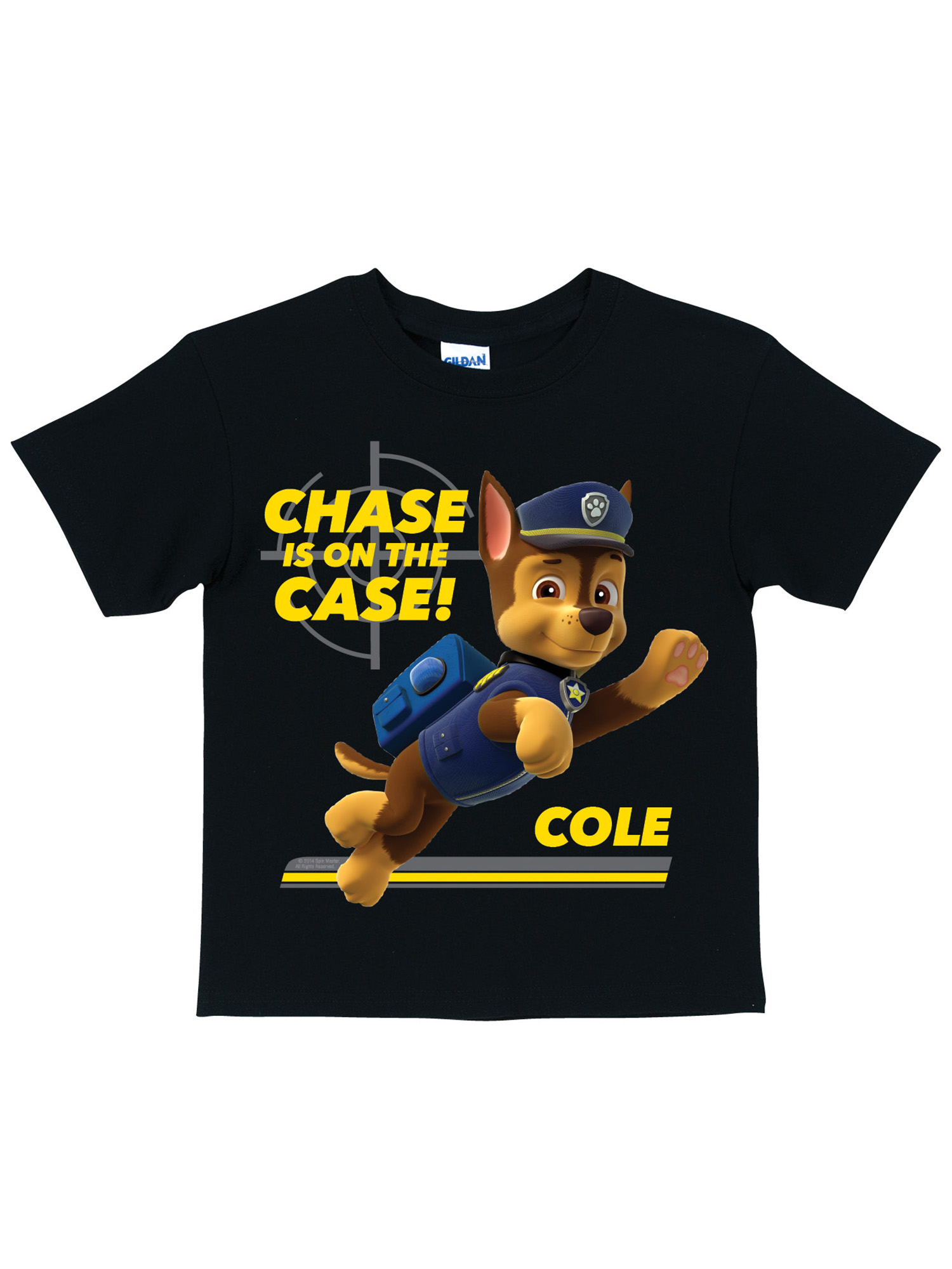 Personalized PAW Patrol Chase is on the Case Black Toddler Boys' T-Shirt
