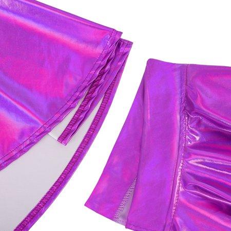HDE Women's Shiny Liquid Metallic Holographic Pleated Flared Mini Skater Skirt (Fuchsia, XX-Large) - image 4 of 6