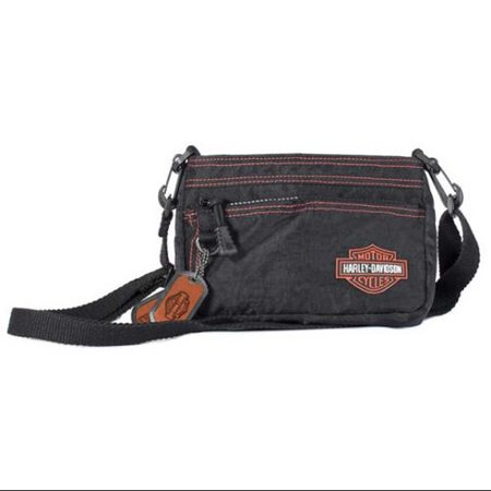 Harley-Davidson Women's Rally Hip Bag Purse Black & Orange RL7251S-OrgBlk, Harley -