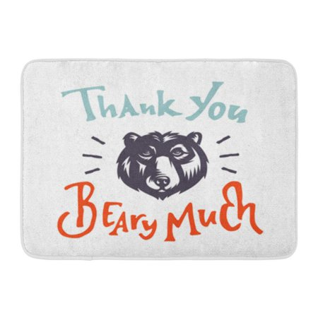LADDKE Thank You Beary Much Funny Humorous Graphic Hand Crafted Custom Lettering Made Doormat Floor Rug Bath Mat 23.6x15.7 inch ()