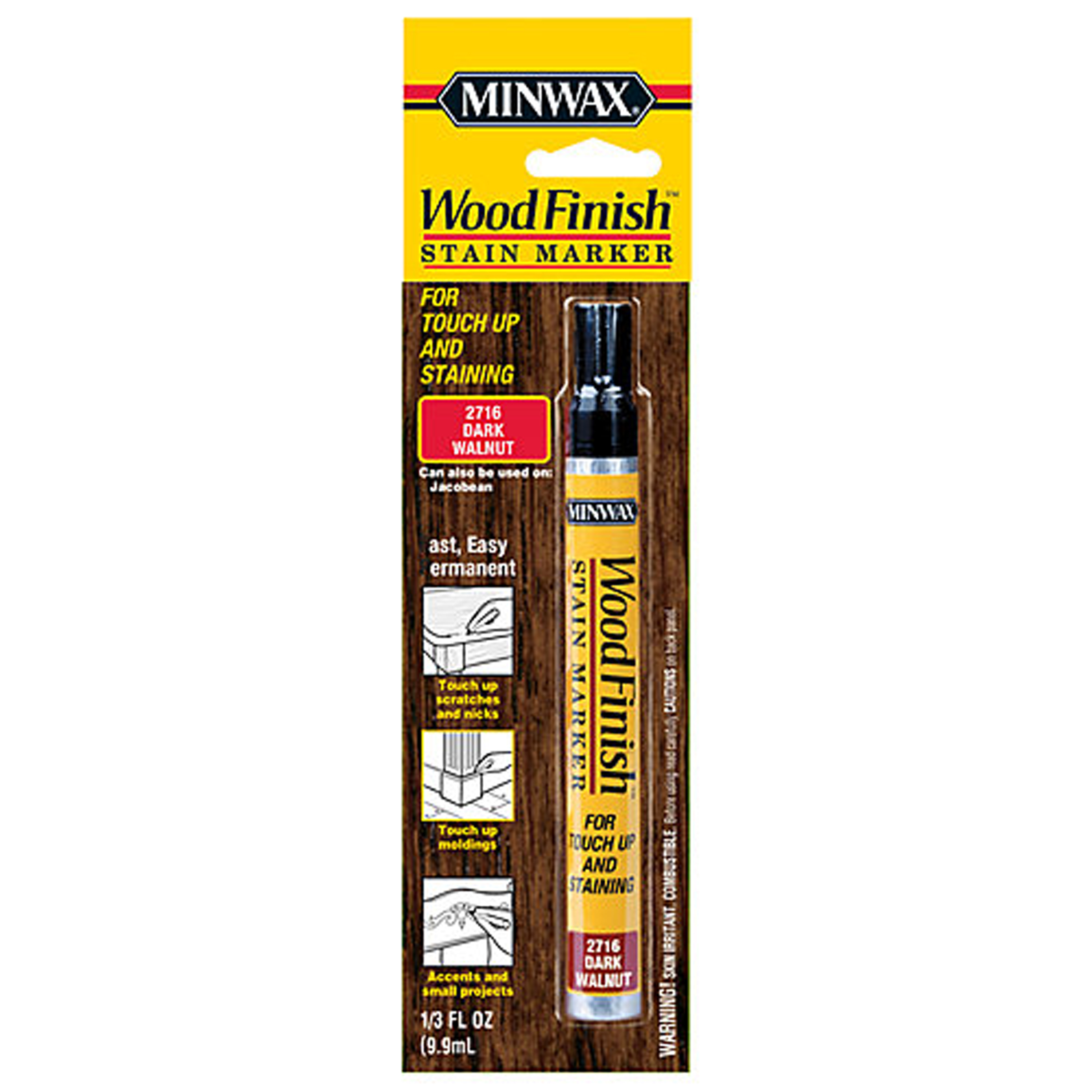 Minwax Wood Finish Stain Marker, 1/3 oz Dark Walnut