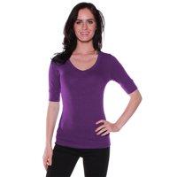 emmalise women's cotton blend v neck tee shirt half sleeves - junior and plus sizes