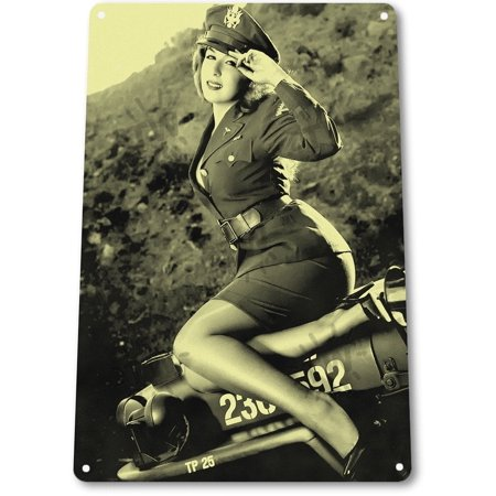 TIN SIGN B163 Jeepers Hot Pin-up Girl WW2 Army Military Uniform Historic Metal Decor, By Tin (Hot Army Girl)