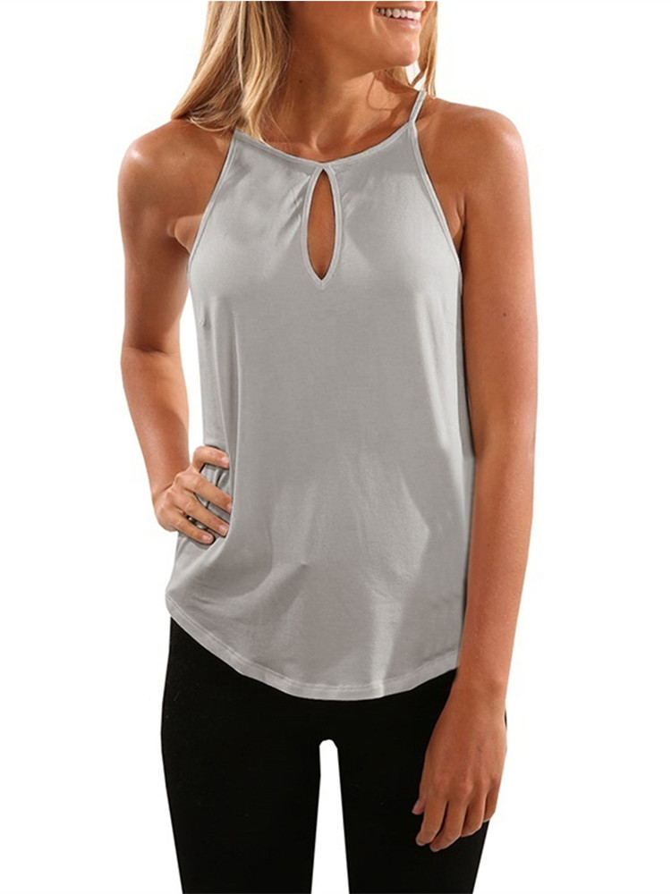 Sleeveless Women Solid Color Tank Vest Casual Shirt