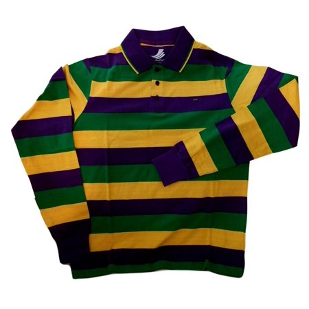 Adult Large Mardi Gras Rugby Stripe Purple Green Yellow Long Slv Shirt - Mardi Gras Clothing Store