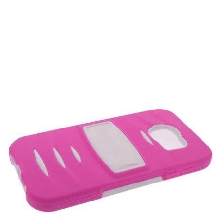 Insten Soft Hybrid Rubber Hard Case with Stand For Samsung Galaxy S6 - Hot Pink/White - image 3 de 4