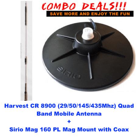 Harvest CR 8900 (10m/6m/2m/70cm) Quad Band Mobile Antenna w Sirio Mag (Cr Harvest)