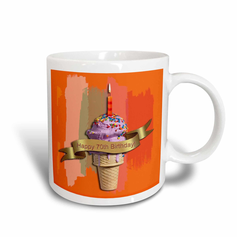 3dRose Happy 70th Birthday, Strawberry Ice Cream Cone on Abstract, Orange, Ceramic Mug, 15-ounce