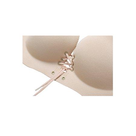 Women Drawstring Push Up Cross Back Convertible Straps Wirefree Bra Beige B Cup - image 2 de 7