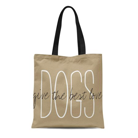 ASHLEIGH Canvas Tote Bag Khaki Family Chic Dogs Give the Best Love Gives Reusable Handbag Shoulder Grocery Shopping